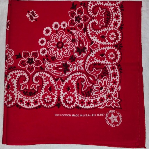 Carolina Turkey red dyed bandana USA RN 15187.
